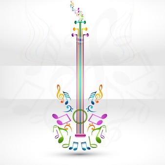 Kolorowe gitara z elementem muzycznym