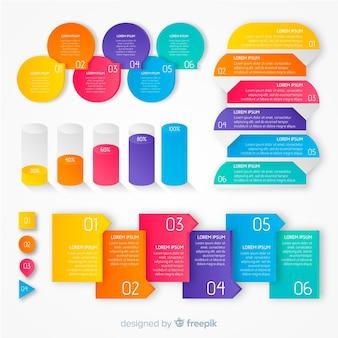 Kolorowe gradientowe infographic szablony