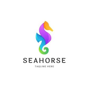 Kolorowe gradientowe logo konika morskiego ikona projektowania szablonu ilustracji wektorowych