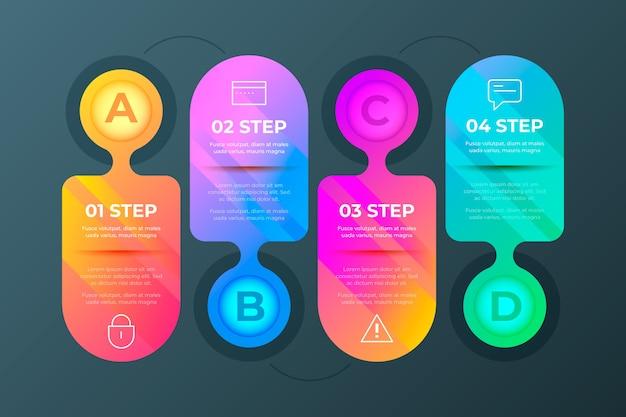 Kolorowe gradienty infographic kroki