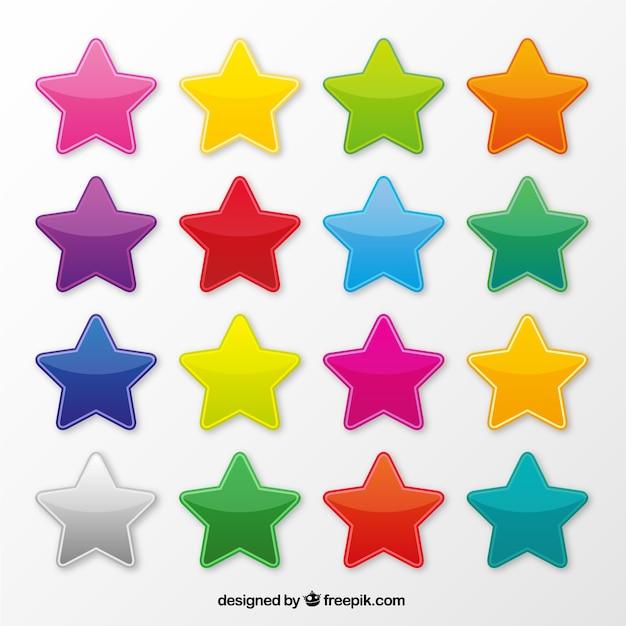 Kolorowe gwiazdki ikony