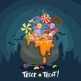 Kolorowe halloweenowe słodycze dla dzieci w kociołku, cukierki ozdobione halloweenowymi elementami