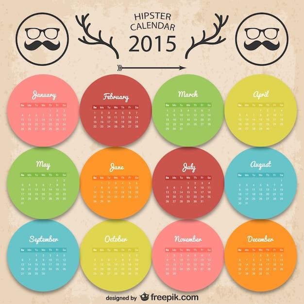 Kolorowe hipster kalendarz
