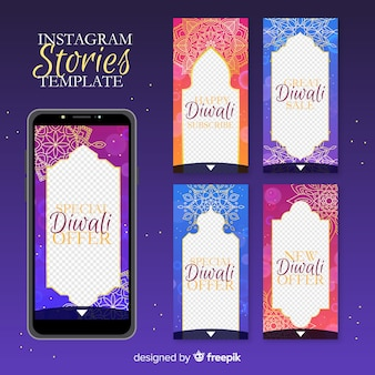 Kolorowe historie na instagramie diwali