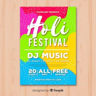 Kolorowe holi festiwal party plakat