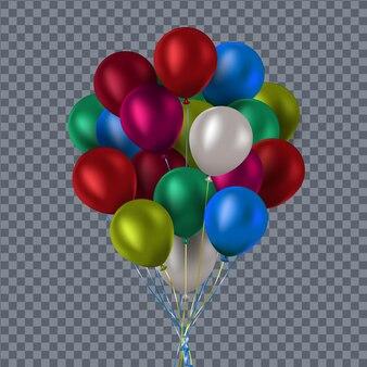 Kolorowe i przezroczyste balony na sprawdzonym tle.