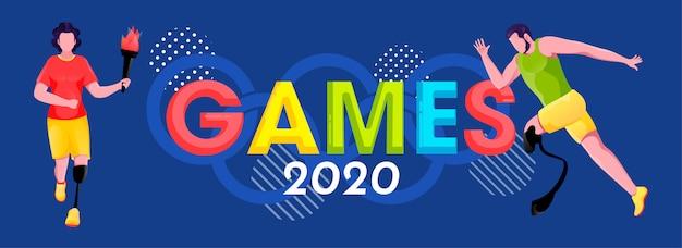 Kolorowe igrzyska 2020 tekst z symbolem olimpijskim, paraolimpijscy mężczyźni biegający i trzymający płonącą pochodnię