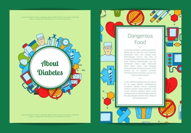 Kolorowe ikony cukrzycy karty lub ulotki