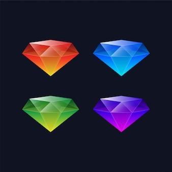 Kolorowe ikony diamentów
