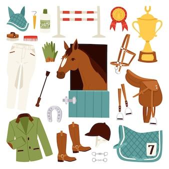 Kolorowe ikony dżokej zestaw z wyposażeniem do jazdy konnej i podkowy siodło sportowe wyścig bariera ogier jeździecki