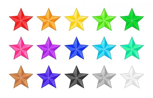 Kolorowe ikony gwiazdki dla rangi lub oceny