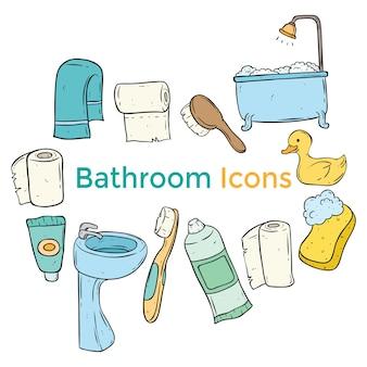 Kolorowe ikony ładny łazienka z grafiką lub doodle stylu