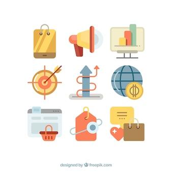 Kolorowe ikony marketingu i biznesu
