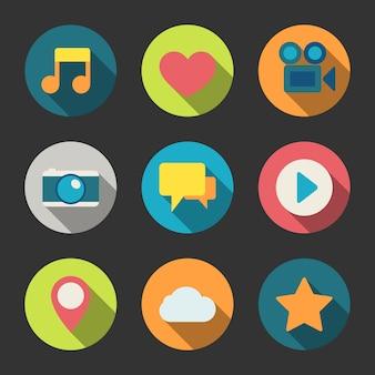 Kolorowe ikony multimedialne