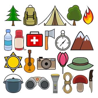 Kolorowe ikony na camping i piesze wycieczki