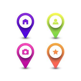 Kolorowe ikony pinezki mapy