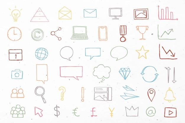Kolorowe ikony prezentacji biznesowych doodle zestaw