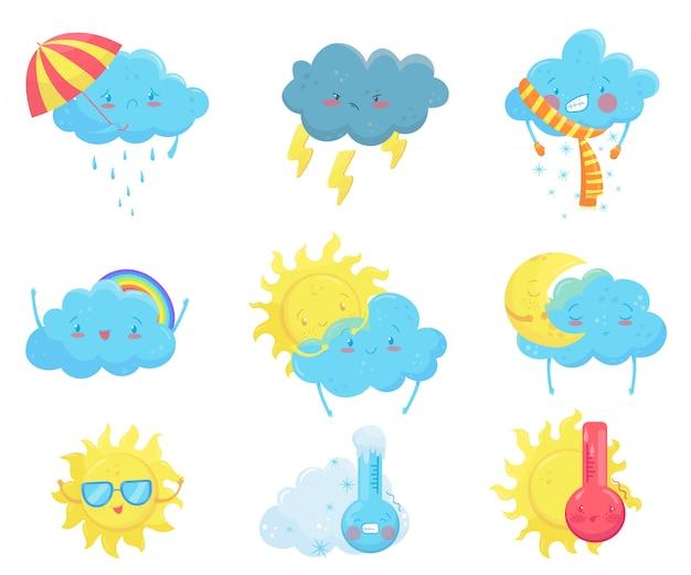 Kolorowe ikony prognozy pogody. śmieszne kreskówki słońce i chmury. urocze twarze z różnymi emocjami. mieszkanie na aplikację mobilną, naklejkę z sieci społecznościowej, książkę dla dzieci lub druk