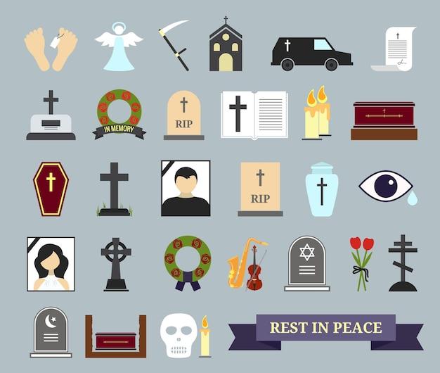 Kolorowe ikony śmierci, rytuału i pochówku. elementy sieci na temat śmierci, ceremonii pogrzebowej.