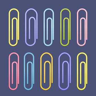 Kolorowe ikony spinacza. ilustracja wektorowa
