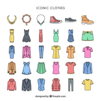 Kolorowe ikony ubrania