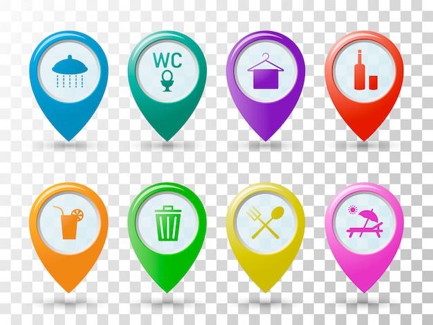 Kolorowe ikony wskaźników na plaży.