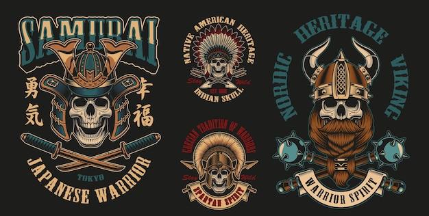 Kolorowe ilustracje wektorowe z wojownikami czaszek