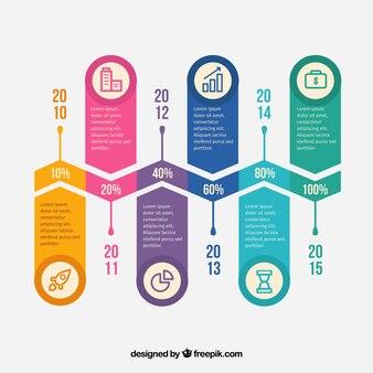 Kolorowe infografika szablon z linii zygzakowatym