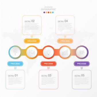 Kolorowe infografiki i ikony dla obecnego biznesu.