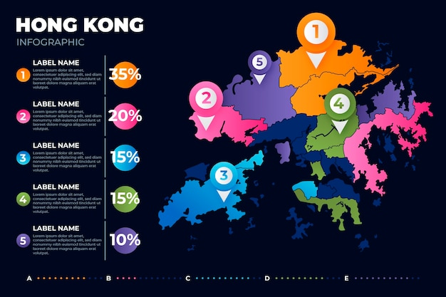 Kolorowe infografiki mapy hongkongu gradientu na ciemnym tle