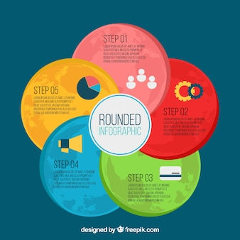 Kolorowe infografiki o okrągłych kształtach