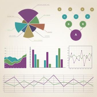 Kolorowe infografiki vintage zestaw z szablonem diagramów o różnych kształtach i polach tekstowych na białym tle