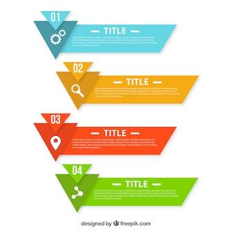 Kolorowe infographic transparenty z geometrycznych kształtów