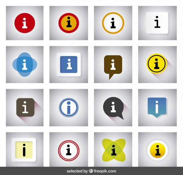 Kolorowe informacyjne przyciski