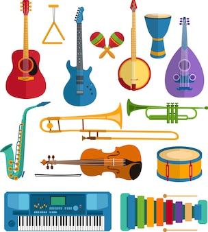 Kolorowe instrumenty muzyczne płaskie wektor