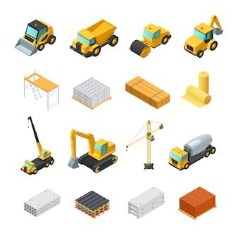 Kolorowe izometryczne ikony budowlane z różnych materiałów i transportu na białym tle na biały bac