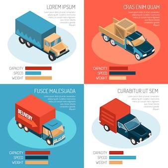 Kolorowe izometryczne szablony 2x2 z różnymi pojazdami dostawczymi, ich pojemność, prędkość i waga 3d