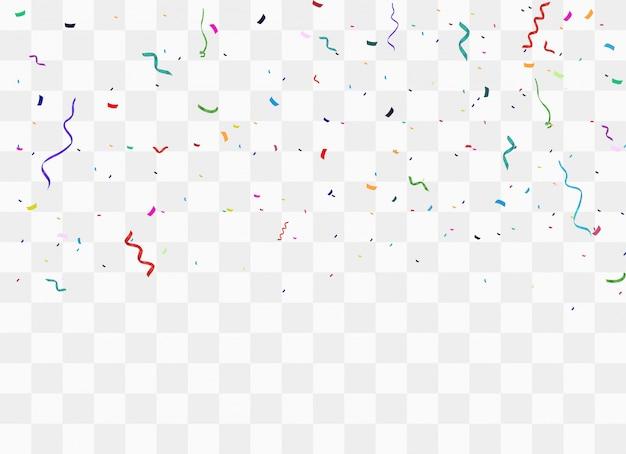 Kolorowe jasne konfetti na przezroczystym tle.