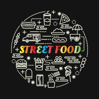 Kolorowe jedzenie ulicy z zestawem ikon linii