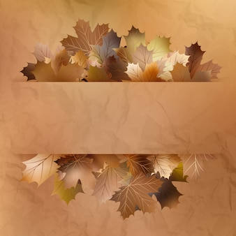 Kolorowe jesienne liście na starym papierze.