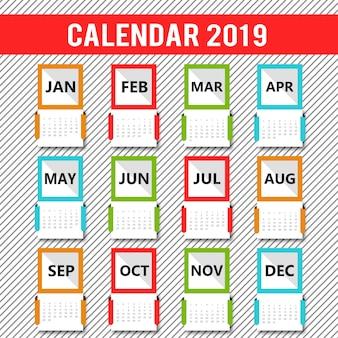 Kolorowe kalendarza 2019 wektor