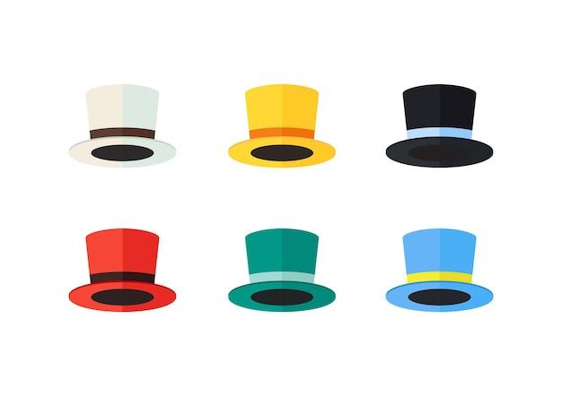 Kolorowe kapelusze płaska konstrukcja. ilustracji wektorowych