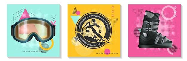 Kolorowe karty sportów zimowych z realistycznymi okularami snowboardowymi, butami z monochromatyczną etykietą narciarza na nowoczesnej geometrii