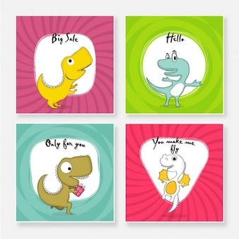 Kolorowe Karty Z Dinozaurami Premium Wektorów