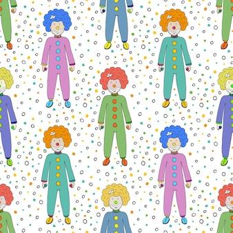 Kolorowe klaunów bezszwowe tło wzór. projektowanie tkanin dziecięcych. wektorowa cyrkowa ilustracja