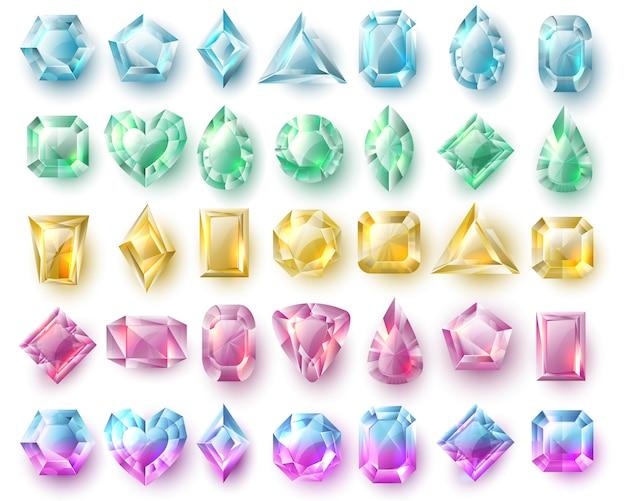 Kolorowe klejnoty, brylanty natury. kamienie szlachetne i diamenty wektor zestaw na białym tle. genialny kamień, cenny diamentowy klejnot