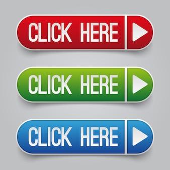 Kolorowe kliknij tutaj zestaw przycisków internetowych wektora. przycisk internetowy kliknij tutaj, aby wyświetlić ilustrację nawigacji po stronie