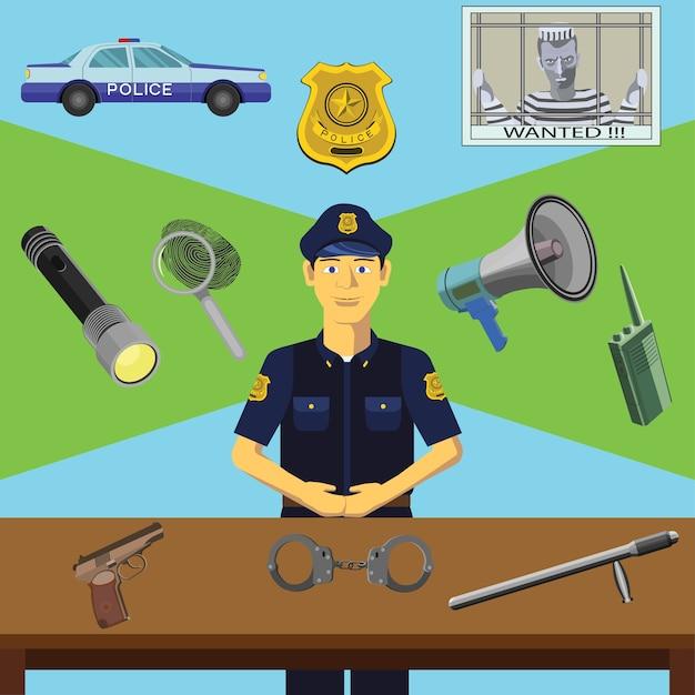 Kolorowe kliparty wektorowe. edukacja infograficzna. zawód policjanta
