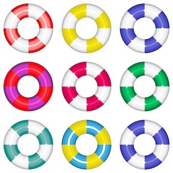 Kolorowe koła ratunkowe z paskami ratującymi życie. ilustracja na białym tle kolekcja. ustaw kolorowe kolorowe koła ratunkowe ratujące życie wody pływania.