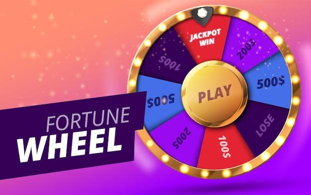 Kolorowe koło szczęścia lub fortuny infografika kasyna online w tle
